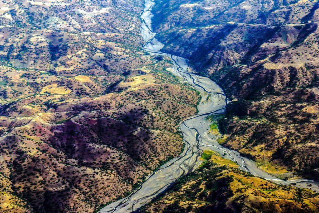 Časť Great Rift Valley v Etiópii.
